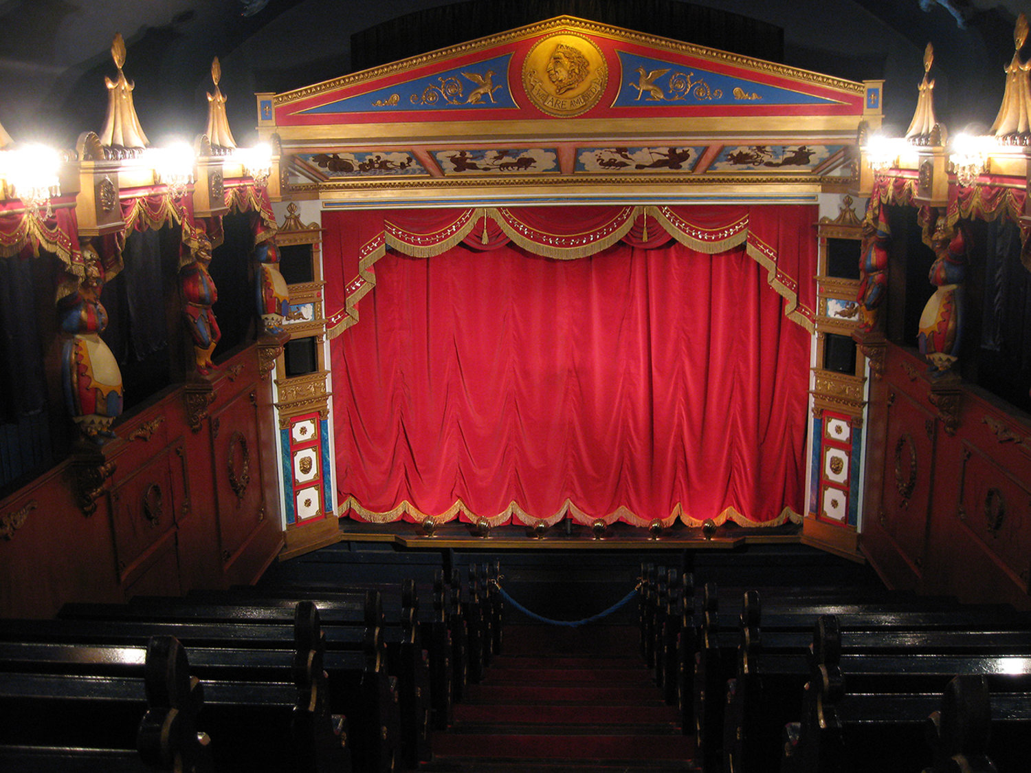 Interior of Biggar Puppet Theatre (South Lanarkshire, Scotland) in 2016, designed by Ian Purves (1986). Photo courtesy of Collection: Jill Purves (International Purves Puppets)