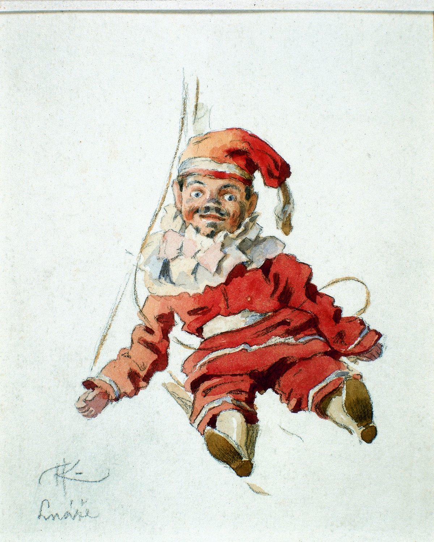 Kašpárek del titiritero itinerante <em>c</em>he<em>c</em>o, Matěj Kope<em>c</em>ký (1775-1847), ilustra<em>c</em>ión: Adolf Kašpar (1900). Fotografía cortesía de Archivo de Nina Malíková