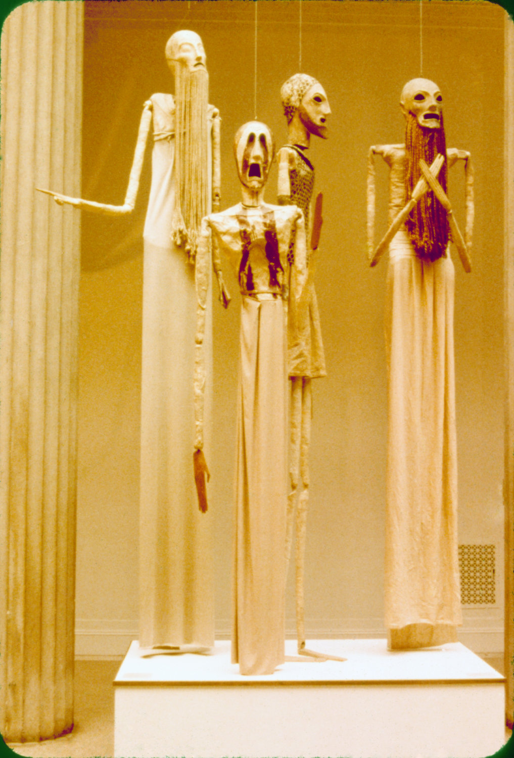 "Puppets for <em>Oedipus Rex</em> (1931), built and operated by American puppeteer Remo Bufano (1894-1948), based on the ""Opera-oratorio after Sophocles"" by Igor Stravinsky, design: Robert Edmund Jones. Puppets, height: 3.0 m. First presented in Philadelphia with the Philadelphia Orchestra under Leopold Stokowski and later at the Metropolitan Opera House, New York. Collection: Detroit Institute of Arts. Photo: Alan Cook"