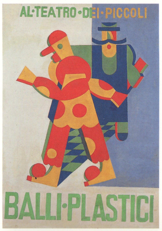 <em>Balli Plastici</em> (1917-1918) del artista futurista Fortunato Depero (1892-1960), interpretada por el Teatro dei Piccoli de Vittorio Podrecca. Fotografía cortesía de Istituto per i Beni Marionettistici e il Teatro Popolare (Turin, Italy)
