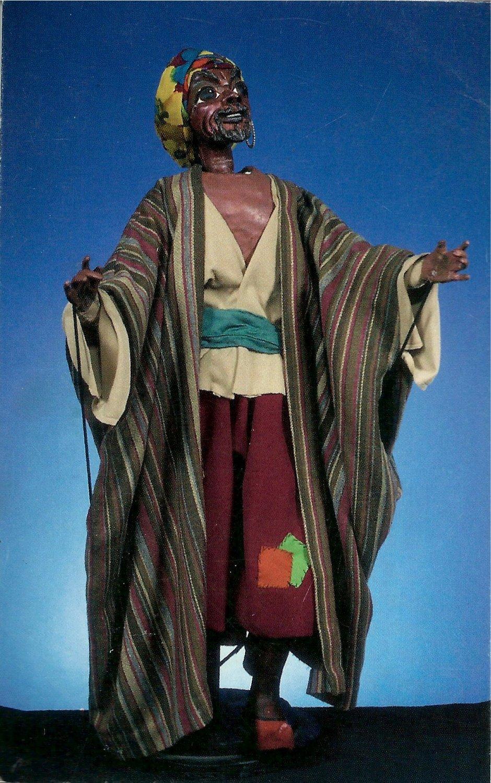 Hajj the Beggar, de <em><em>Ki</em>smet</em> (1975), scénographie et mise en scène : Frank Ballard à l'Universitédu Connecticut. Marionnette à tiges. Photo réproduite avec l'aimable autorisation de Ballard Institute and Museum of Puppetry à l'Université du Connecticut. Photo: Thomas A. Hoebbel