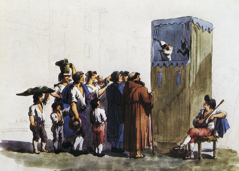 Une illustration couleur de la période représentant le castelet ambulant de Ghetanaccio installé dans une rue (probablement la Piazza di Pasquino), ses marionnettes, un musicien et le public. Collezione Maria Signorelli