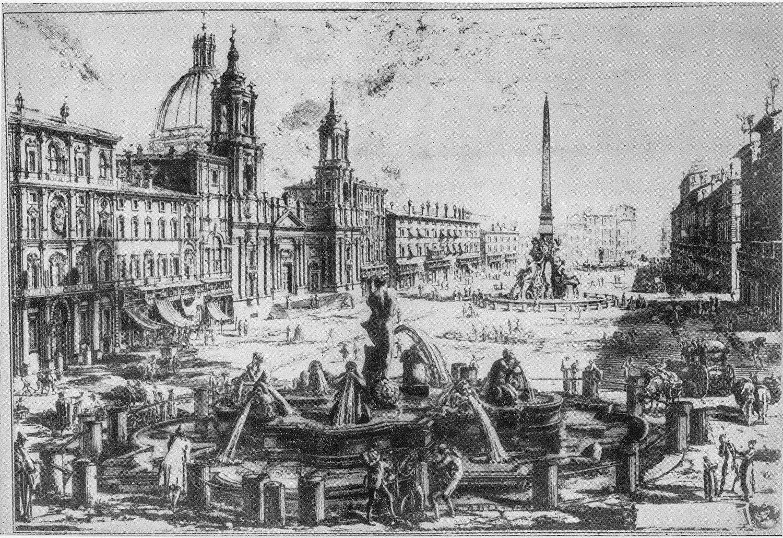 Une gravure de Giovanni Battista Piranesi (1720-1778) de Piazza Navona, tout près de Piazza di Pasquino, le site où Ghetanaccio installait son <em>casotto</em> (castelet ambulant). Collezione Maria Signorelli