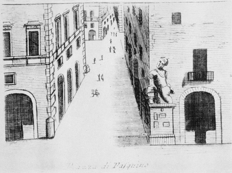 Une gravure (début du XIXe siècle) de la Piazza di Pasquino à Roma, le site où Ghetanaccio installait son <em>casotto</em> (castelet ambulant). Collezione Maria Signorelli