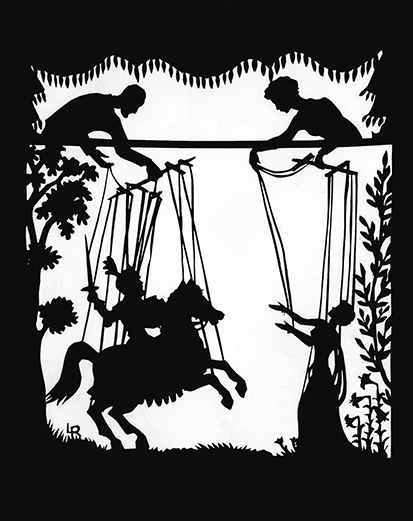La représentation de marionnettes d'ombre par Lotte Reiniger d'une production de marionnettes, <em>Aucassin et Nicolette</em> (1960) par Hogarth Puppets. Photo réproduite avec l'aimable autorisation de Collection : The National Puppetry Archive