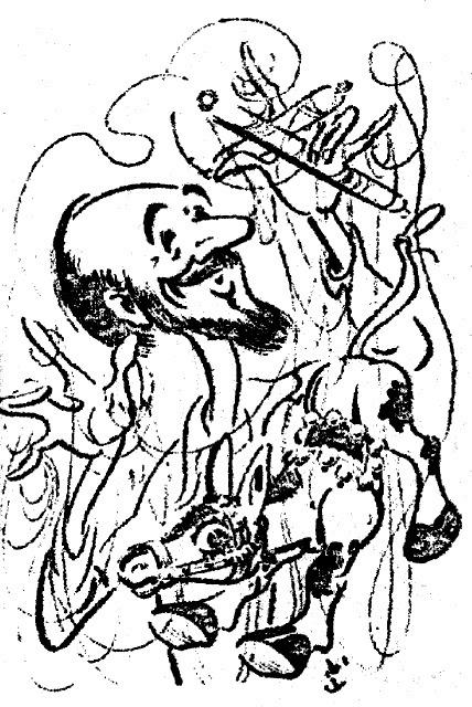 Caricature de Jan Bussell par Norman Hetherington. Photo réproduite avec l'aimable autorisation de The National Puppetry Archive