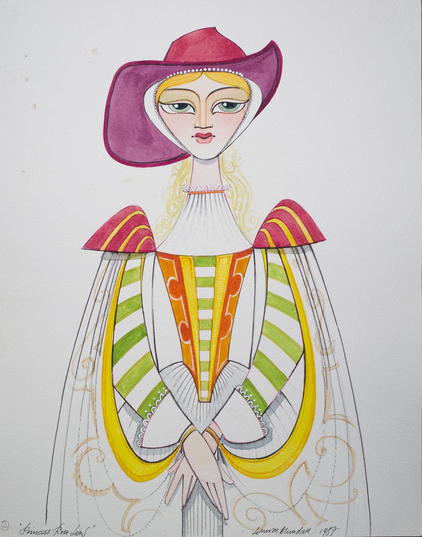 La conception pour Princess Rose Leaf, dans <em>Puss in Boots</em> (1987) par le Cannon Hill Puppet Theatre (Birmingham, Royaume-Uni), mise en scène, conception et fabrication : John M. Blundall. Marionnette à tiges, hauteur: 1 m. Photo réproduite avec l'aimable autorisation de Collection : John M. Blundall. Photo: John M. Blundall