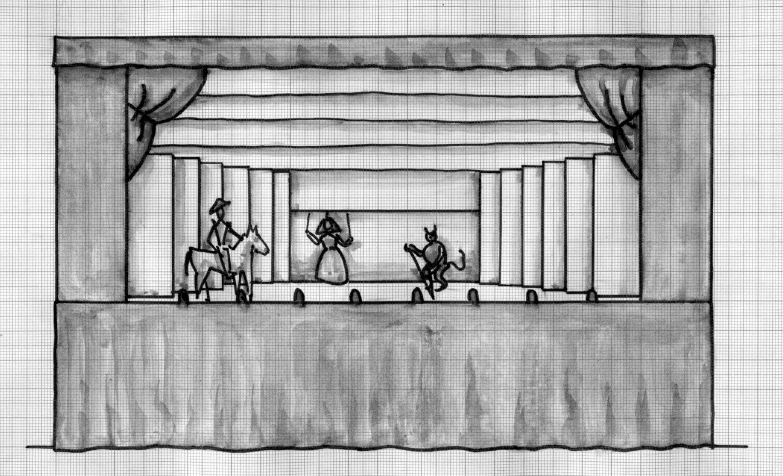 Reconstruction, par Francisco J. Cornejo, de la máquina real selon différents documents existants et des mesures de stade construit en 1772 dans le Corral del Príncipe, Madrid (Espagne), pour la máquina real de Cristóbal Franco : 24 x 10 pieds (env. 6,70 x 2,80 m). Face avant