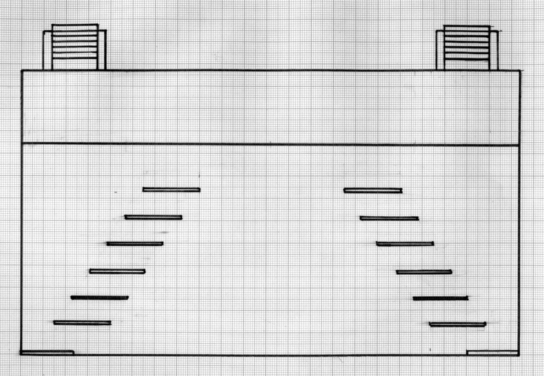 Reconstruction, par Francisco J. Cornejo, de la máquina real selon différents documents existants et des mesures de stade construit en 1772 dans le Corral del Príncipe, Madrid (Espagne), pour la máquina real de Cristóbal Franco : 24 x 10 pieds (env. 6,70 x 2,80 m). Plan d'étage