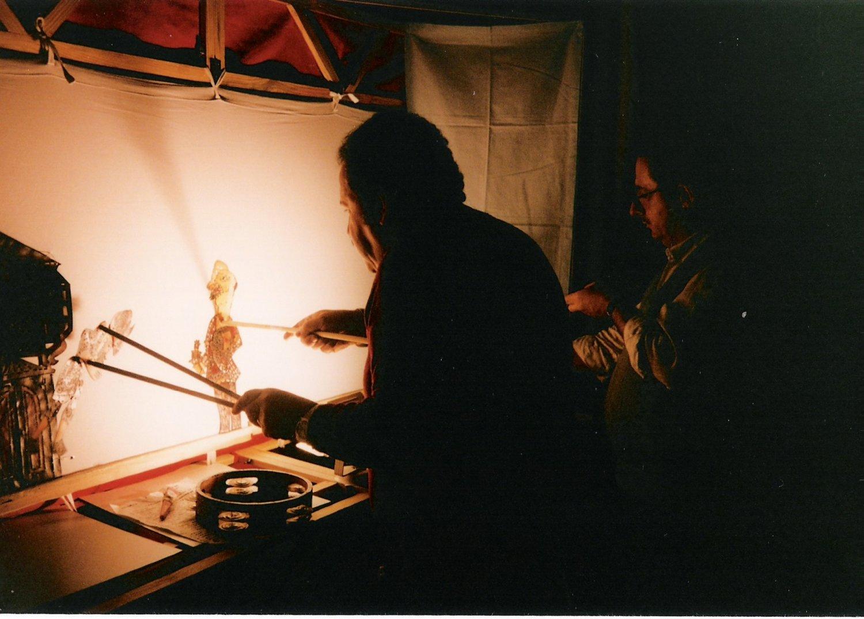 Metin Özlen, Turkish karagöz shadow theatre master with (to his right) Şinasi Çelikkol, a master craftsman, puppet maker, stage director and karagöz performer. Photo courtesy of UNIMA Turkey (UNIMA Turkiye)