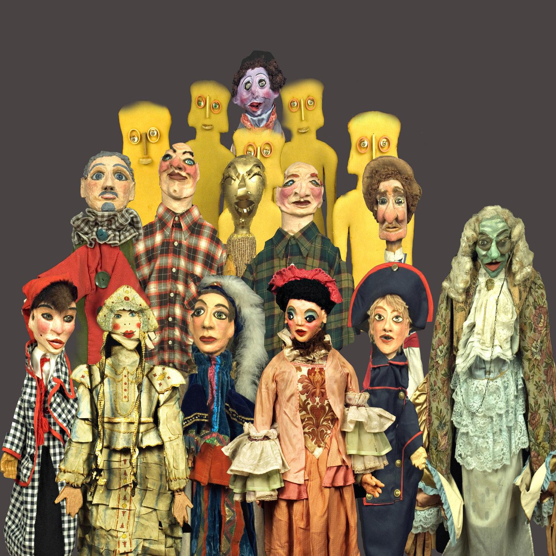 Une collection de <em>burattini</em> (marionnettes) du musée de la Fondazione Famiglia Sarzi, La Casa dei Burattini di Otello Sarzi. Photo réproduite avec l'aimable autorisation de Fondazione Famiglia Sarzi (Reggio Emilia, Italie)