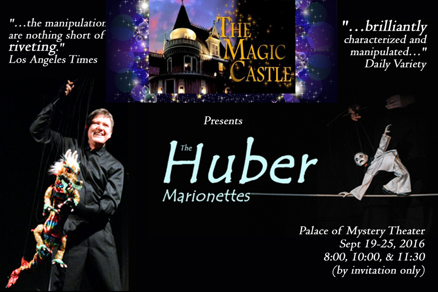 Marionnettiste américain, Phillip Huber avec The Huber Marionettes au Palace of Mystery Theater (Hollywood, Californie, 2016). Photo réproduite avec l'aimable autorisation de Phillip Huber