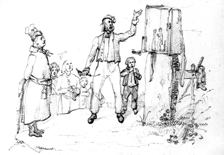 Théâtre mécanique en Pologne, illustration par Cyprian Kamil Norwid (1838). Collection : Muzeum Narodowe w Krakowie (Musée national, Cracovie, Pologne). Photo: Zbigniew Malinowski