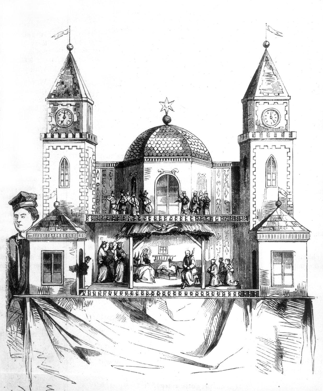 <em>Szopka</em> de Michał Ezenekier (1862). Foto de Tygodnik Ilustrowany, Varsovia, 1862, núm. 135