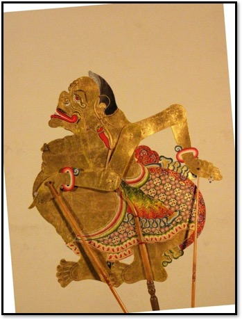 A popular character in <em>wayang</em> kulit performances, Semar the wise man is the loyal servant of the heroes; an entertainer, follower and adviser, his main function is as a guide in philosophy. Photo courtesy of UNIMA-Indonesia