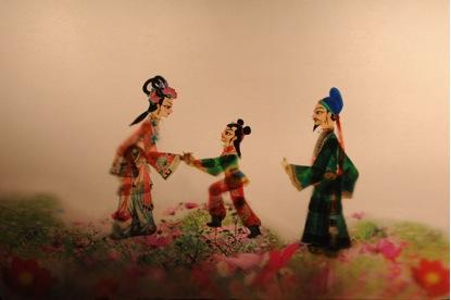 <em>Chenxiang Rescues His Mother</em> (沉香救母, 2010) by Tangshan Piyingtuan (Lubei District, Tangshan, Hebei Province, People's Republic of China), direction: Wang Junjie, Da Jianguang, design/construction: Wang Shuai, Du Yuqian, Du Xuejun, puppeteers: Ren Guohui, Da Wei, Da Jianguang, Shen Tangying, He Chao, Qi Dongxing. Shadow theatre. Photo courtesy of Tangshan Piyingtuan