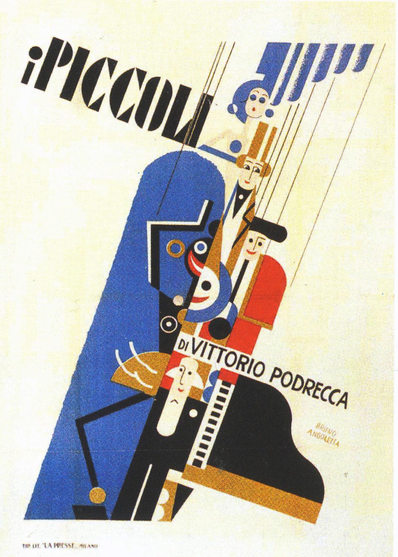Une affiche du Teatro dei Piccoli créée par Bruno Angoletta. Collezione Maria Signorelli. Photo réproduite avec l'aimable autorisation de Istituto per i Beni Marionettistici e il Teatro Popolare (Turin, Italie)