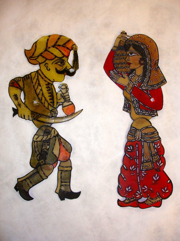 Un personnage turc et Zenne (vers 1900-1930), deux personnages du théâtre d'ombres turc, karagöz. Collection : Patterson Museum, Claremont, Californie, États-Unis. Photo: Carol Gil