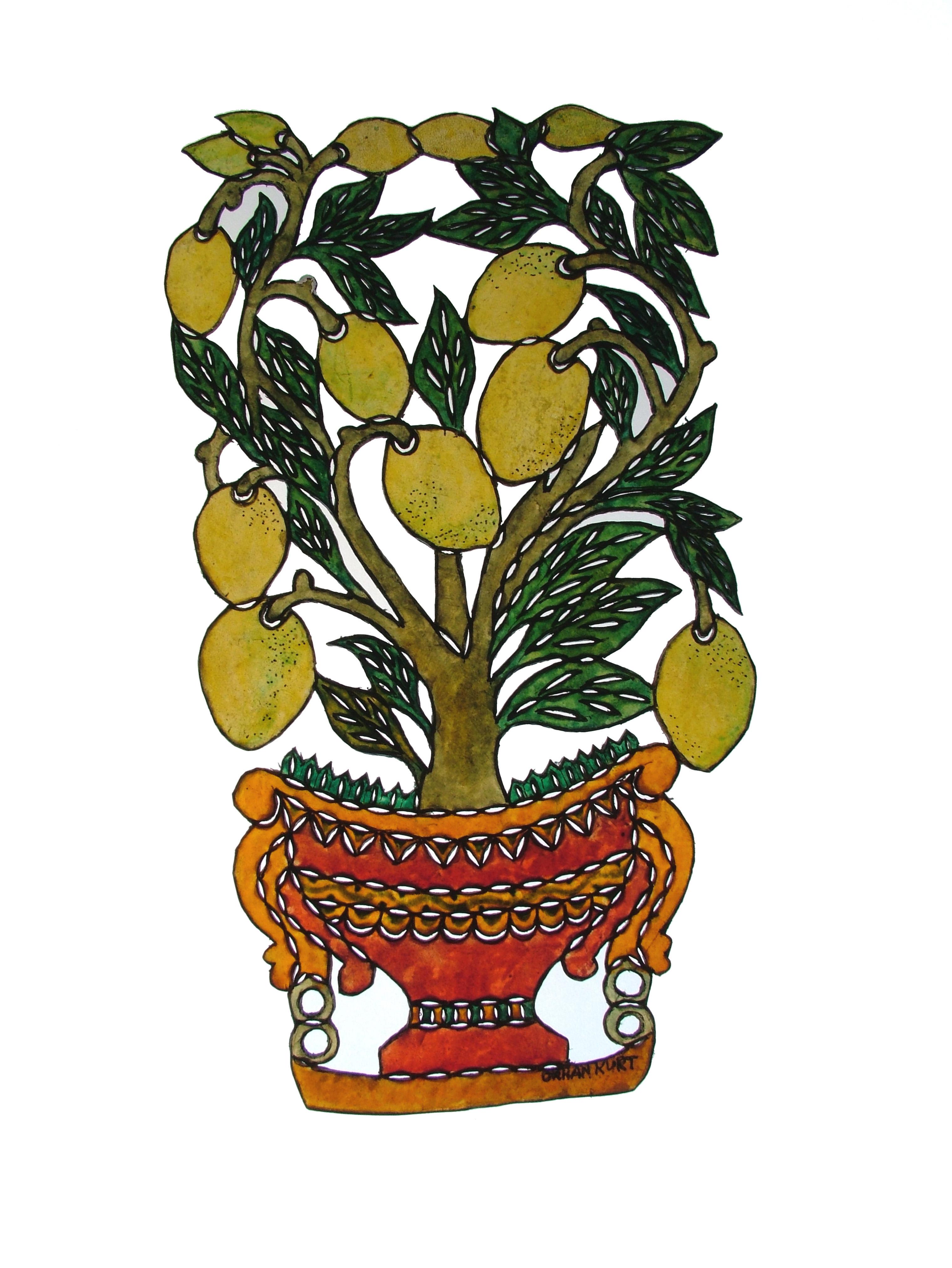 Un décor d'un citronier, une figurine d'ombre pour le théâtre d'ombres turc, karagöz. Photo réproduite avec l'aimable autorisation de UNIMA Turkey (UNIMA Turkiye)
