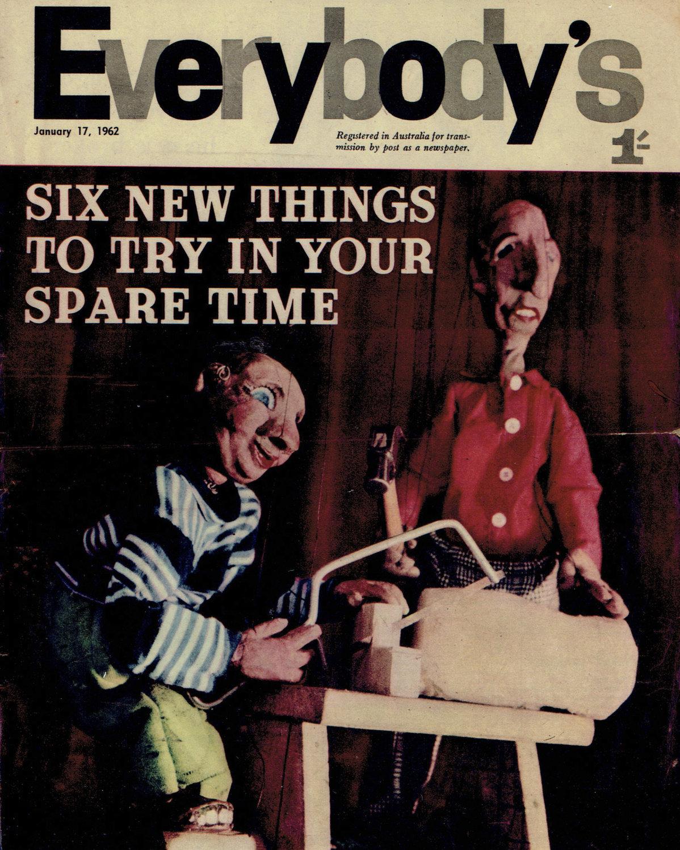 Natty et Slim sur la <em>c</em>ouverture de Everybody's (17 janvier 1962), les marionnettes à fils par la marionnettiste australienne, Edith Murray. Photo réproduite avec l'aimable autorisation de Richard Bradshaw