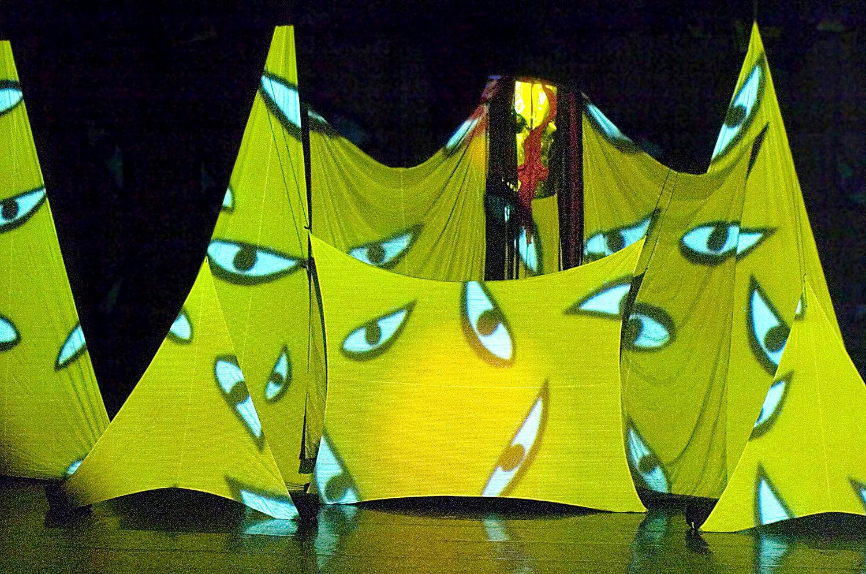 Proje<em>c</em>tions sur l'émergen<em>c</em>e de la grande figure de la déesse Kali, en <em>Transposition</em> (2003) par Ishara Puppet Theatre Trust (New Delhi, Inde), mise en s<em>c</em>ène et <em>c</em>on<em>c</em>eption : Dadi D. Pudumjee, <em>c</em>onstru<em>c</em>tion de marionnettes : Dadi Pudumjee et membres d'Ishara. Marionnette à tiges géantes, taille : env. 3,50 m. Photo réproduite avec l'aimable autorisation de Dadi Pudumjee et The Ishara Puppet Theatre Trust