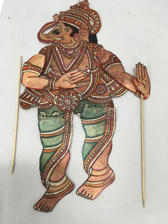Une petite marionnette d'ombre de Ganesh dans le style du <em>tolu bommalata</em>, le théâtre d'ombres traditionnel d'Andhra Pradesh, en Inde. Photo: Karen Smith