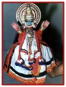 Rama, une marionnette à gaine pava<em>kathakali</em> (Kerala, Inde). Photo réproduite avec l'aimable autorisation de Sampa Ghosh