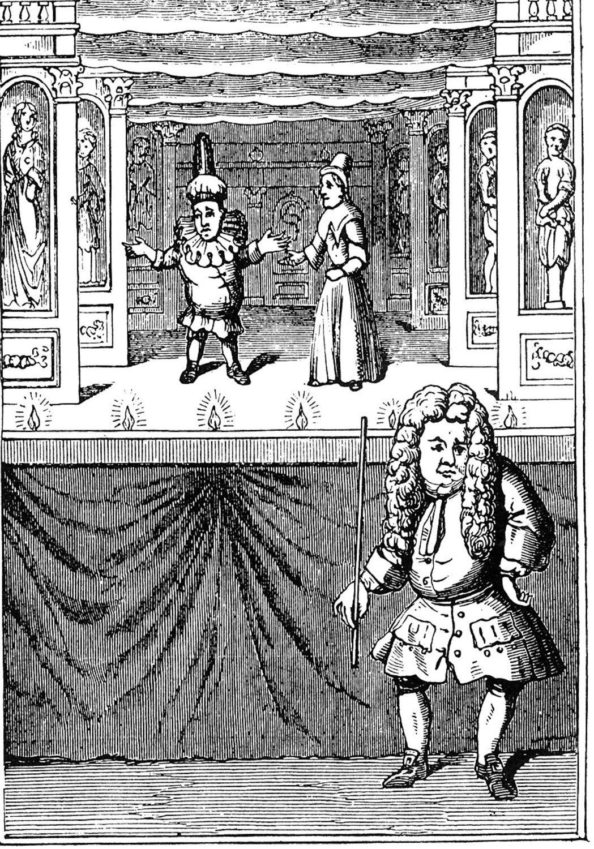 Une gravure de 1715 de Pun<em>c</em>h <em>c</em>omme une marionnette à tiges ave<em>c</em> Mme Pun<em>c</em>h (Joan). Colle<em>c</em>tion : The National Puppetry Ar<em>c</em>hive