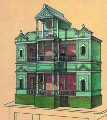 Gravure d'un vertep, une boîte-théâtre de style Sokyryntsi (1882, village de Sokyryntsi, l'oblast de Poltava, Ukraine <em>c</em>entrale), publié ave<em>c</em> le premier arti<em>c</em>le sur le drame du vertep et sa mise en s<em>c</em>ène par Grigory Galagan, publié dans la revue ethnographique, <em>Ki</em>evskaya starina (Antiquité <em>Ki</em>evan, 1882 ). Colle<em>c</em>tion : Musée d'Etat de Théâtre, Musique et Cinéma d'Ukraine (Kyiv). Photo: V. Varshavets