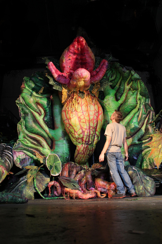 Audrey 2, dans <em>Little Shop of Horrors</em> (2016) par Erth Visual & Physical Inc. (Sydney, Nouvelle-Galles du Sud, Australie), mise en scène : Dean Bryant, scénographie / fabrication de marionnettes : Erth Workshop, comédien / marionnettiste sur la photo : Aron Dosiak
