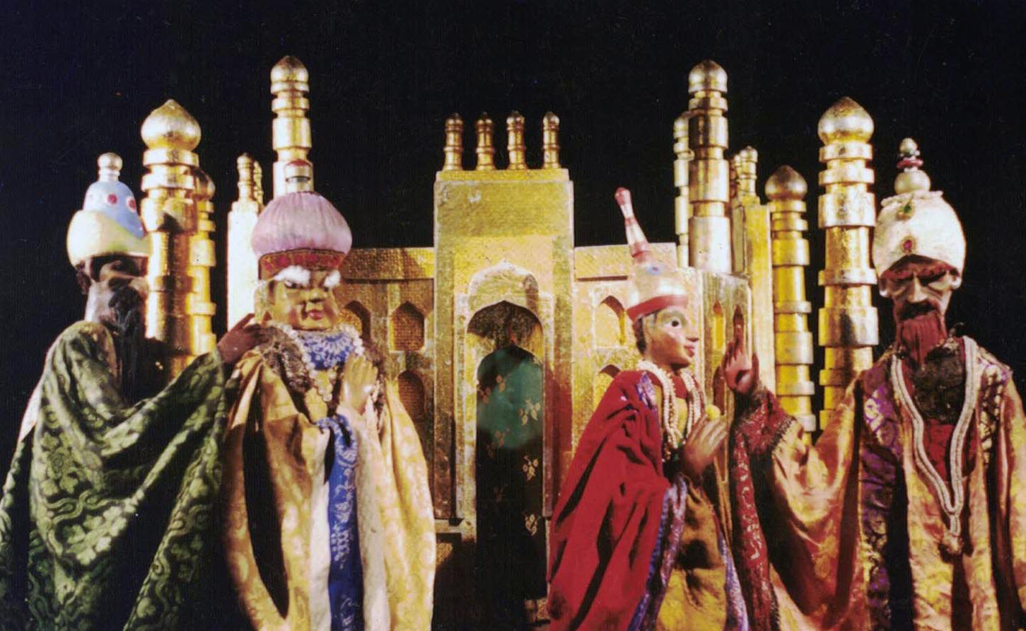 Aladin par Sudip Ghosh (Bengale occidental, Inde). Marionnettes à tiges