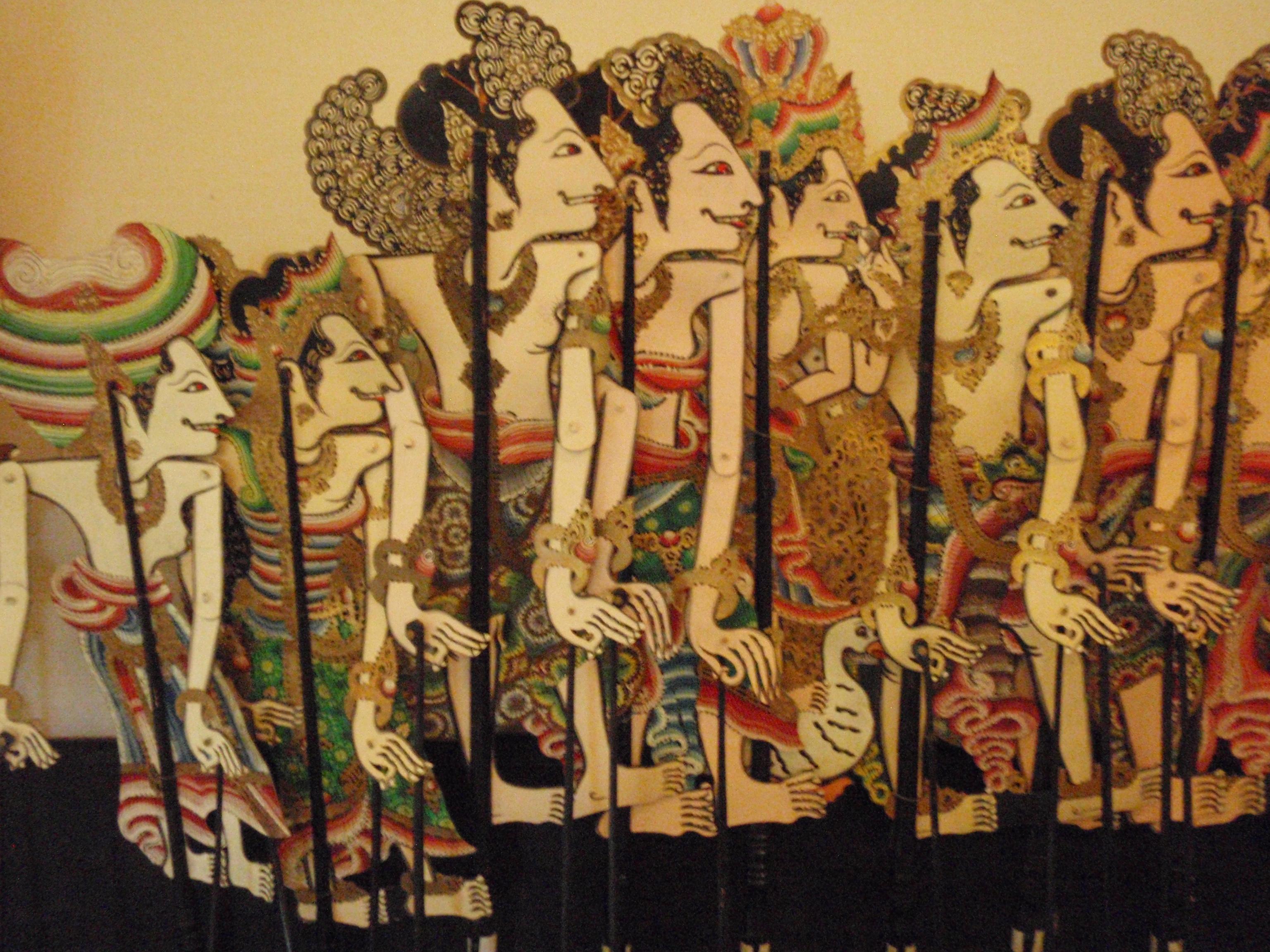 Wayang parwa (Bali), des histoires du Mahâbhârata, créateur de wayang <em>kulit</em> : I Wayan Nartha (Gianyar, Bali). Collection : Setia Darma House of Masks and Puppets, Gianyar, Bali, Indonésie.