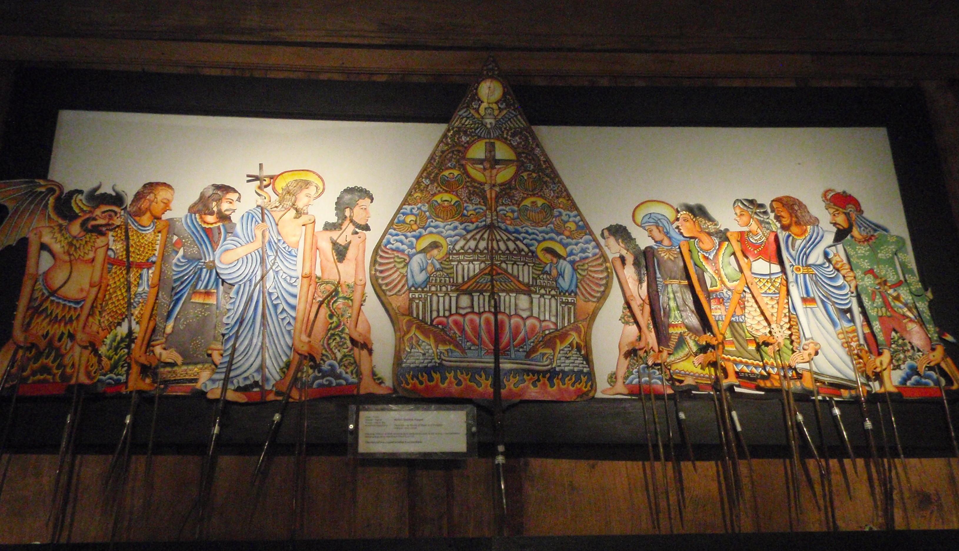 Wayang wahyu (« révélation ») joue des histoires chrétiennes de la Bible. Collection : Setia Darma House of Masks and Puppets, Gianyar, Bali, Indonésie.
