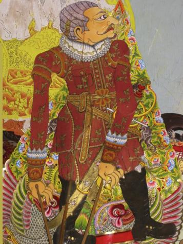 Jan Pieterszoon Coen (1587-1629), officier de la Compagnie néerlandaise des Indes orientales en Indonésie et fondateur de Batavia (Jakarta), une marionnette d'ombre créée par le <em>dalang</em> Ledjar Subroto pour sa série de théâtre d'ombres, wayang Sultan Agung (Java central, Indonésie).