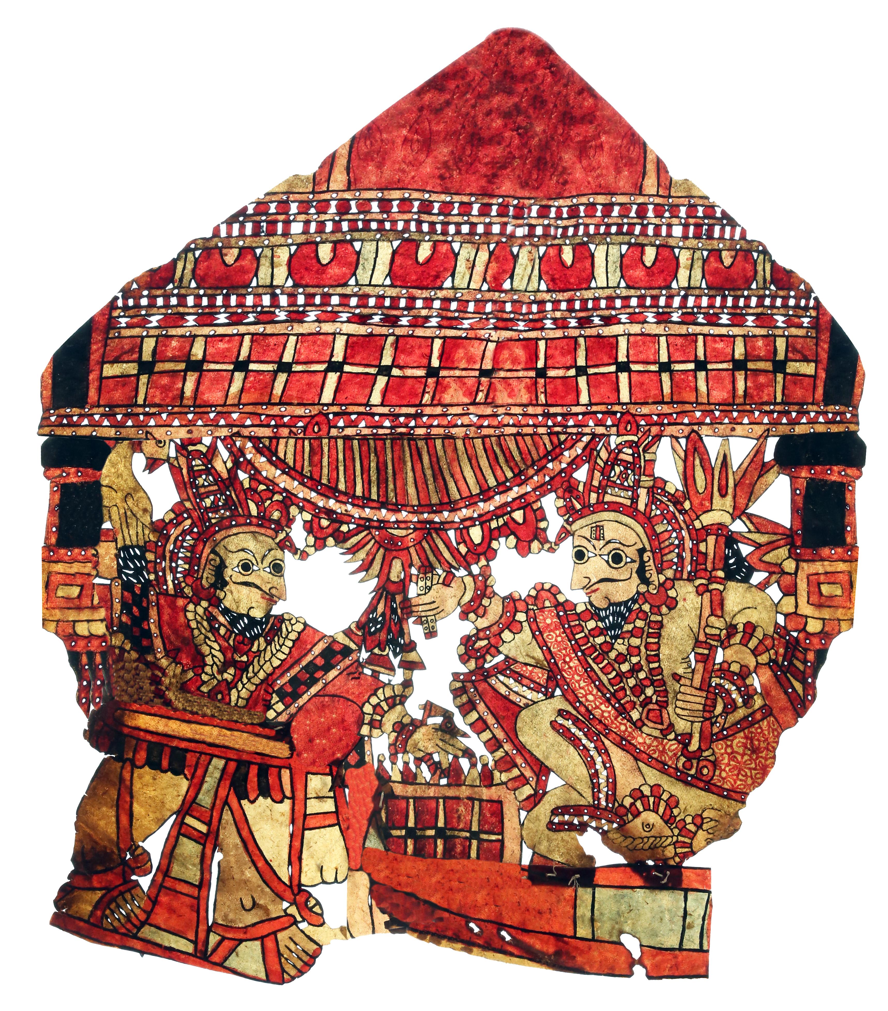 Une scène du Mahâbhârata, le Jeu de Dés, avec Shakuni (à gauche) et Yudhisthira (à droite), une marionnette d'ombre en cuir composite créée par Gunduraju, un maître du togalu gombeya</em>ta</em> (Hassan, Karnataka, Inde)