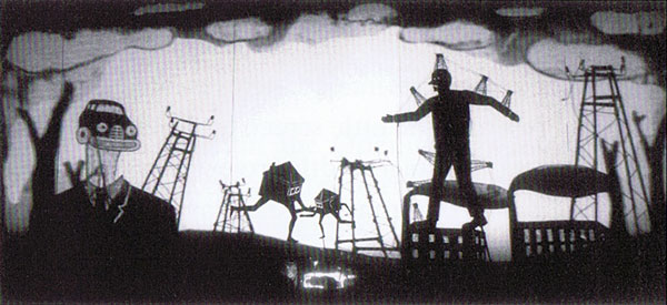 <em>The Theft of Sita</em> (2002), un jeu d'ombres à écran large inspiré du wayang <em>kulit</em> balinais avec un message environnemental contemporain, commandé par le Festival d'Adélaïde 2000, mise en scène : Nigel Jamieson, directeur associé, directeur des marionnettes et marionnettiste : Peter J. Wilson, <em>dalang</em> balinais / marionnettiste : I Made Sidia