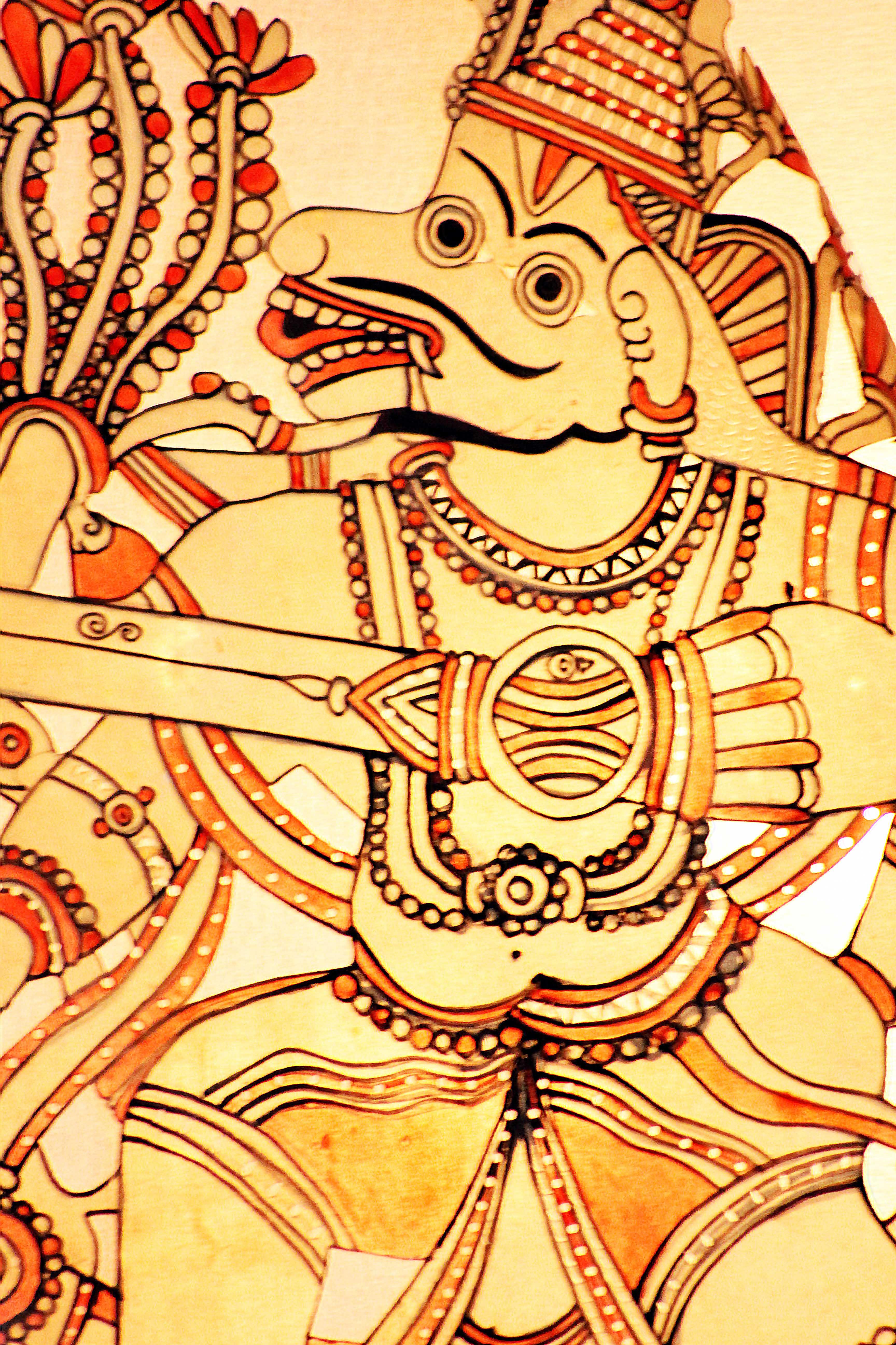 <em>Hanuman</em>, un personnage important du Râmâyana, réalisé dans le style du togalu gombeya</em>ta</em>, le théâtre d'ombres traditionnel du Tamil Nadu, en Inde