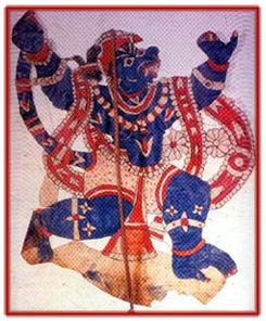 <em>Hanuman</em>, un personnage important du Râmâyana, réalisé dans le style du togalu gombeya</em>ta</em>, théâtre d'ombres traditionnel du Tamil Nadu, en Inde