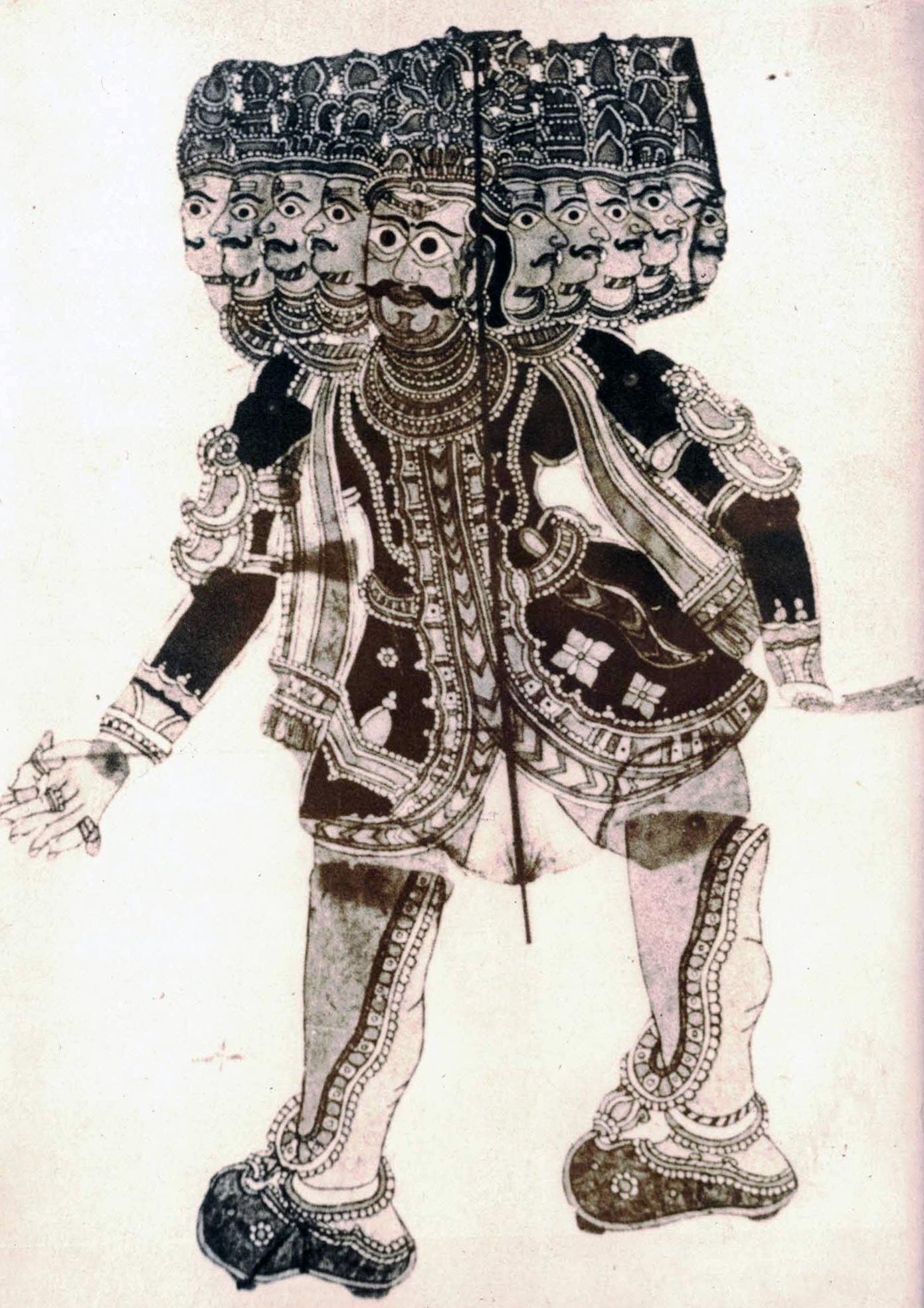 Râvana à dix têtes, l'antagoniste du Râmâyana, réalisée dans le style de tolu bommalata, le théâtre d'ombres d'Andhra Pradesh, en Inde