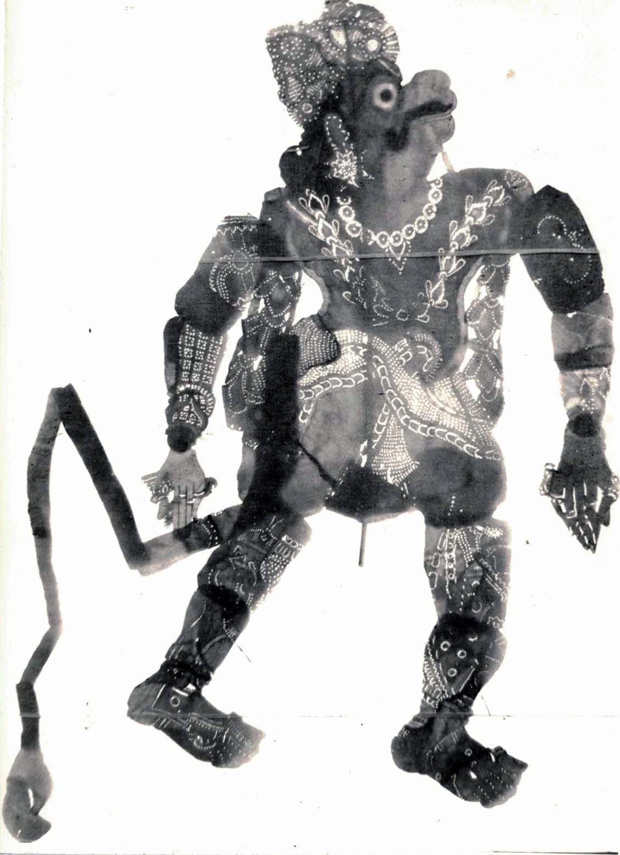 <em>Hanuman</em>, un personnage important du Râmâyana, réalisé dans le style du tolu bommalatam, théâtre d'ombres traditionnel du Tamil Nadu, en Inde.