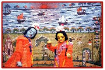 Râma et Laxman, marionnettes à tiges traditionnelles, danger putul nach, du Bengale occidental, en Inde