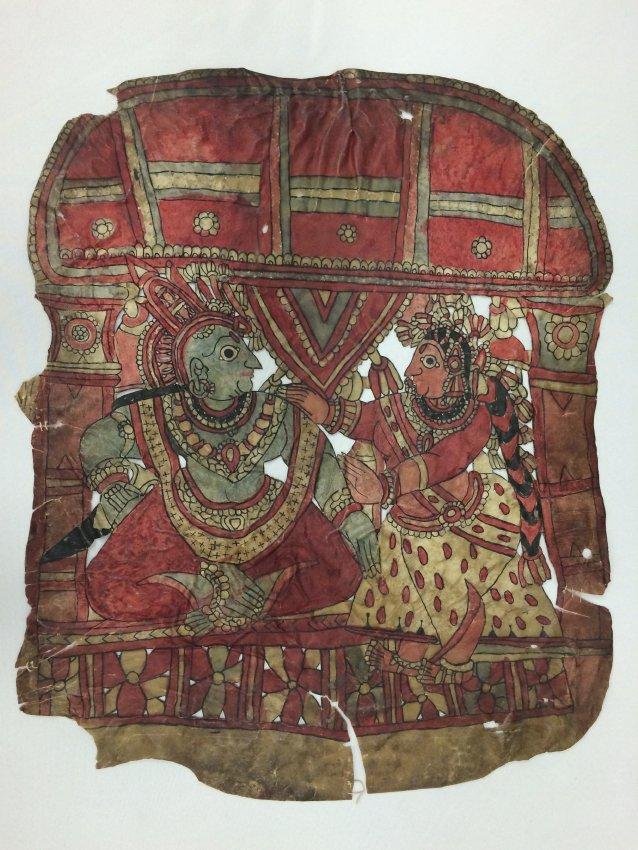 Râma et Sîtâ, une figure d'ombre composite de Karnataka, Inde, togalu gombeya</em>ta</em>, hauteur : 68 cm. Collection : Center for Puppetry Arts (Atlanta, Géorgie, États-Unis)