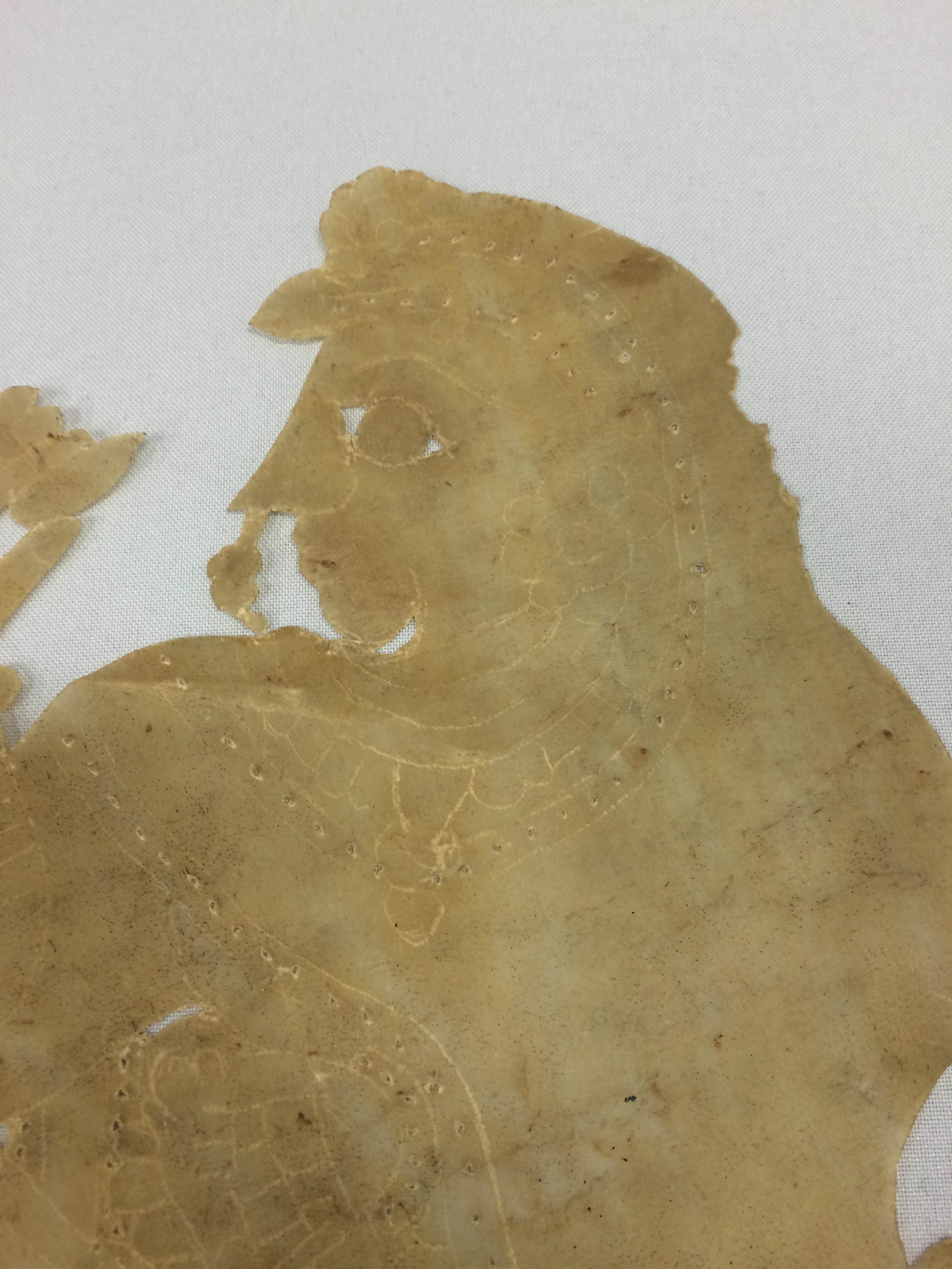 Détail, Sîtâ à cheval, une figure d'ombre d'<em>Or</em>issa (Odisha) en Inde, ravanachhaya, hauteur : 60 cm. Collection : Center for Puppetry Arts (Atlanta, Géorgie, États-Unis)